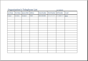 Organizations Telephone List Download At HttpWwwTemplateinn