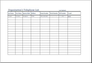 Organizations Telephone List Download At HttpWwwTemplateinn