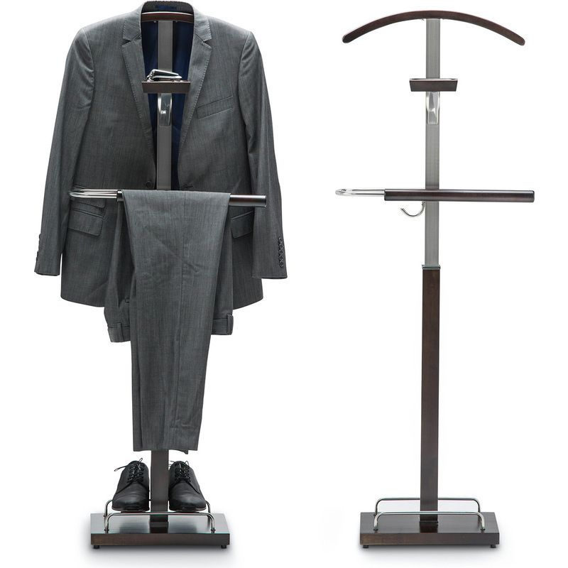 Timber Mens Valet Stand with Hook in Espresso 138cm | Buy Clothes Valets