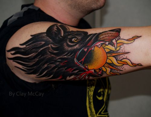 old school wolf tattoo - we could cover your current Wolf with this, it's bad-ass