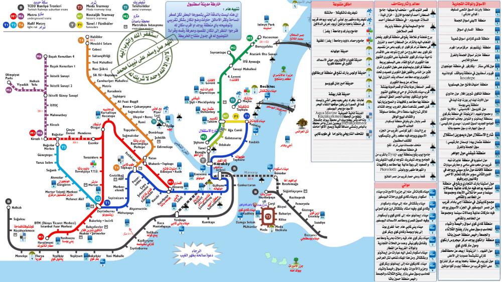 خريطة مترو اسطنبول معربة واضحه شركة حقى تورز للسياحة