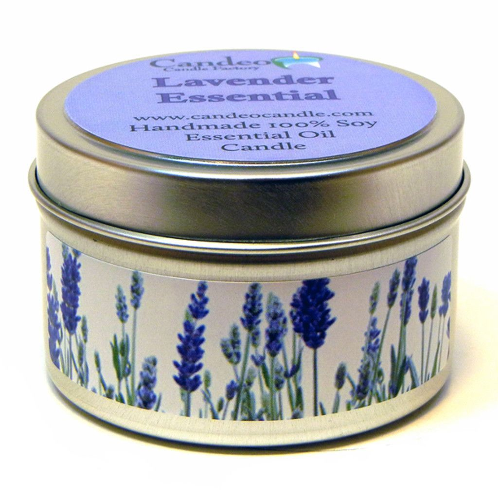 Lavender Essential Oil, 4oz Soy Candle Tin