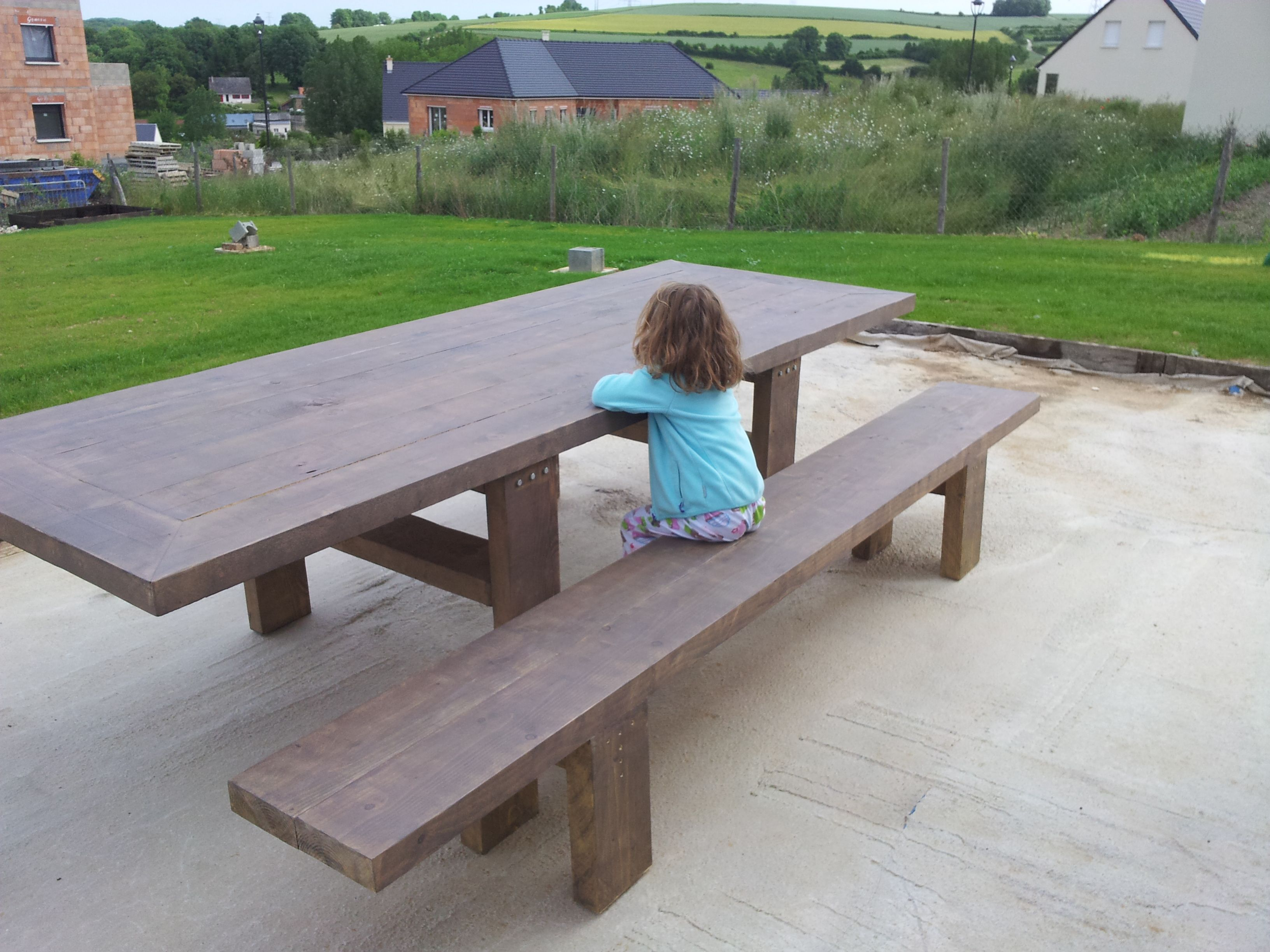 Banc et table de jardin 3m x 1m en bastaing instructions - Table et banc de jardin ...