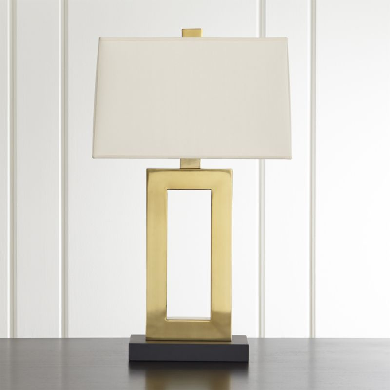 Duncan Brass Table Lamp With Ivory Shade Lamp Geometric Lamp