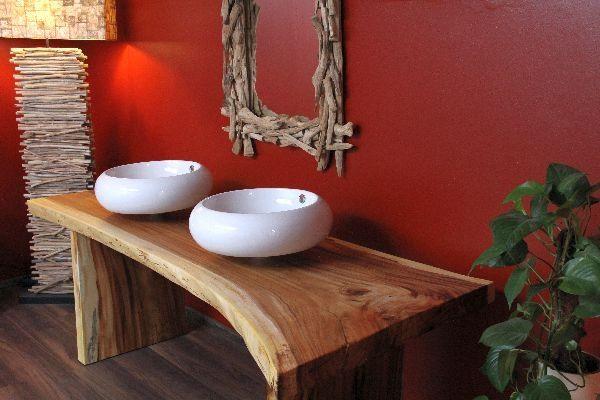 Waschtisch, Holz, Massiv, Suar, Doppel, Waschbecken, 220x87x75 kaufen bei Hood.de
