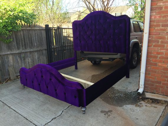 King Tufted Bed Purple Velvet Extra Tall Headboard Footboard