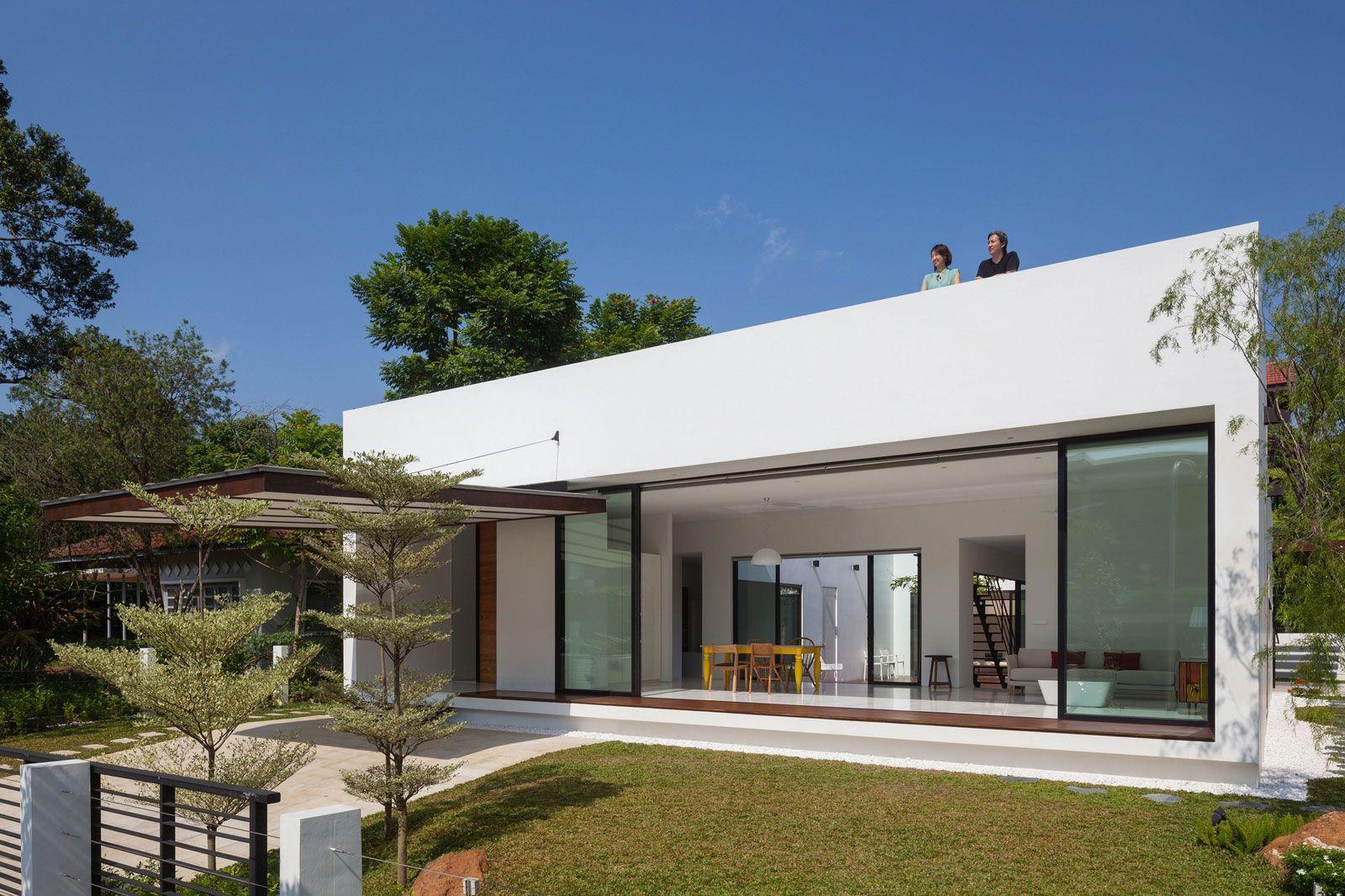 Resultado de imagen para casa rectangular galerias for Modelos de terrazas modernas