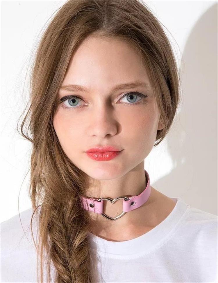 Elegant Rose Heart Collar Choker Necklace Set for Women and Girls
