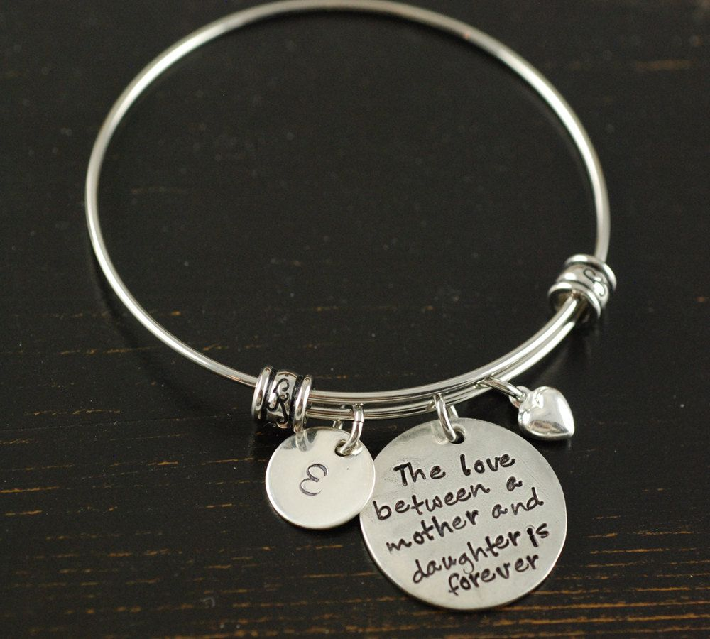 Personalized Bangle Bracelet Mother Daughter Silver Charm Alex And Ani Style Name By Anniereh On Etsy