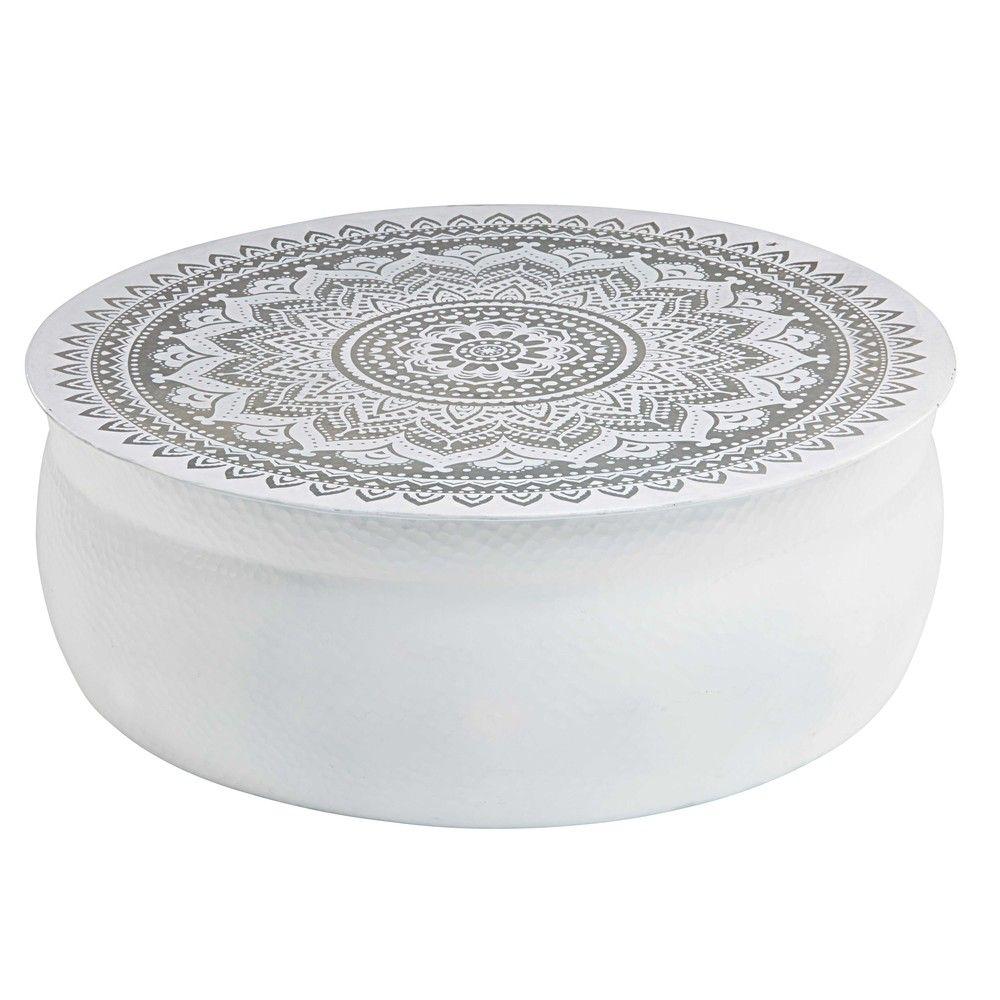 Genial Table Basse En Aluminium Martelé Blanc Motifs Argentés | Maisons Du Monde