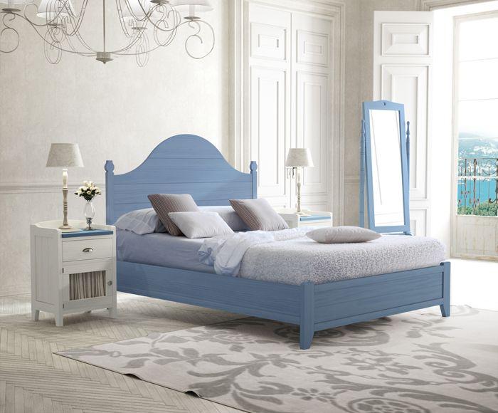 Dormitorio de colores en azul y blanco roto, mueble fabricado en ...