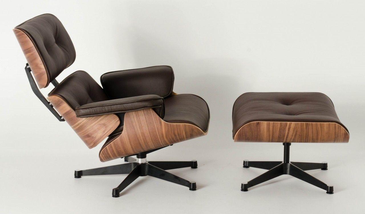 Milano Republic Furniture   Replica Eames Lounge Chair Ottoman  Brown  Italian Leather With PU Piping