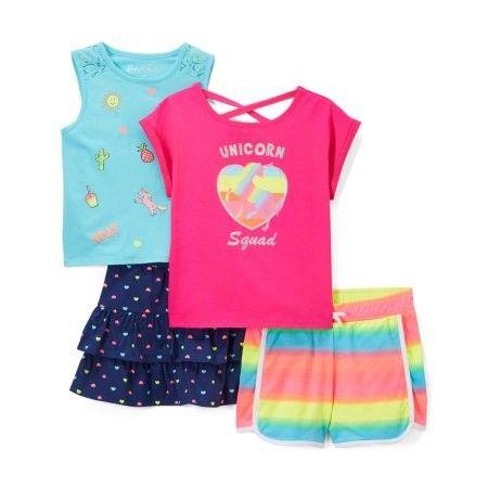 ca569752c Toddler Girls' Top, Tank Top, Skirt & Shorts, 4pc Outfit Set ...