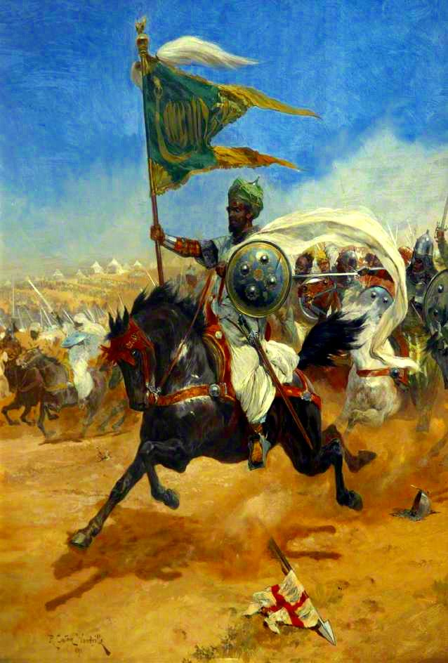 saladin s cavalry charging the crusaders richard caton woodville