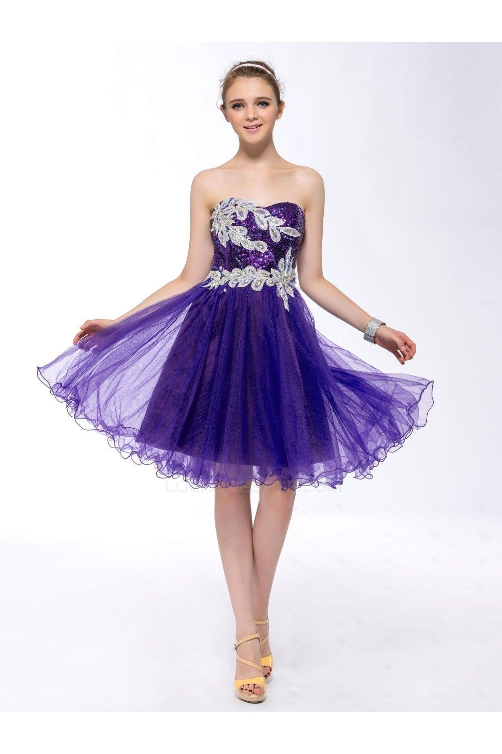 Aline strapless short purple sequin prom evening formal party