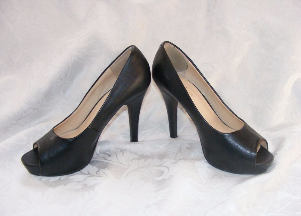 NINE & CO. PEEP TOE, Black Platform Stacked High Heels, Bronte Pumps, Size 7 #NineCo #PeepToe