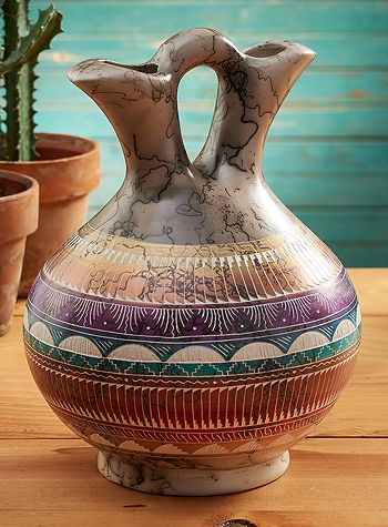 4273718301 Southwest Horsehair Pottery Marriage Vase Southwestern
