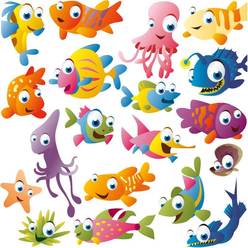 Funny Cartoon Fish Vector Cartoon Fish Fish Vector Fish Drawings
