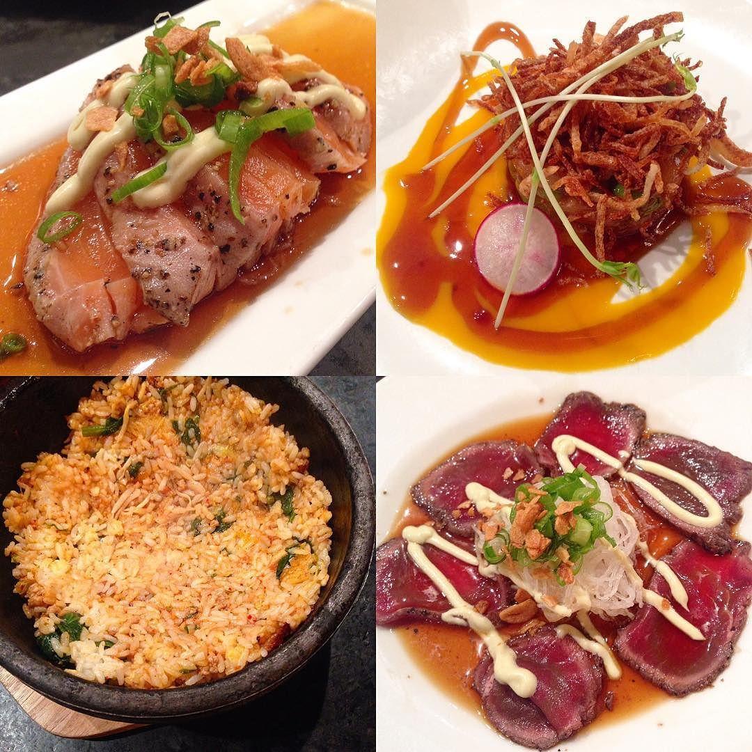 Some Guu'd shit  Salmon #tataki tuna #tartare buta kimchi #bibimbap and gyu (beef) #carpaccio by julesjlc
