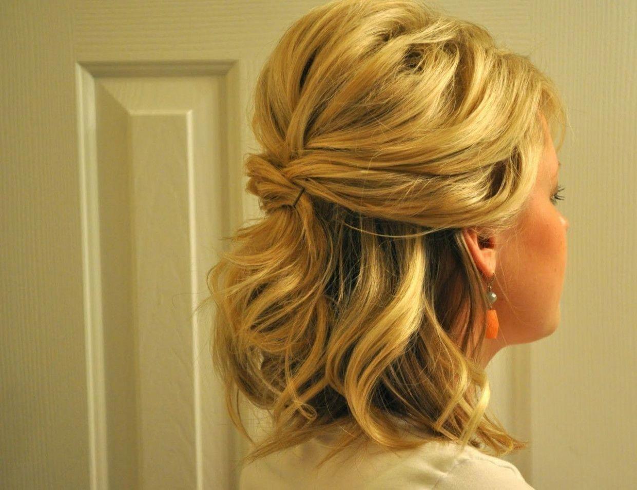 Updos For Medium Hair Half Up Half Down Half Up Half Down Wedding Hairstyles For Hair Frisur Hochgesteckt Geflochtene Frisuren Hochsteckfrisur
