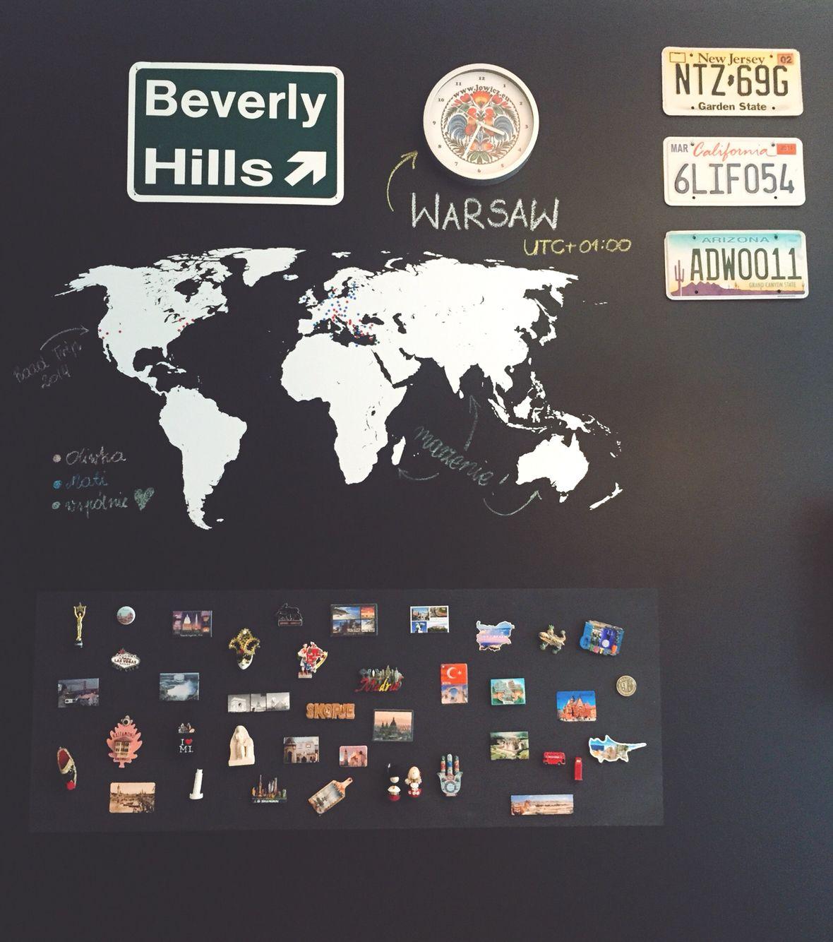 Wszystkie nowe Wymarzona ściana: mapa, tablice rejestracyjne z USA, magnesy z HE52