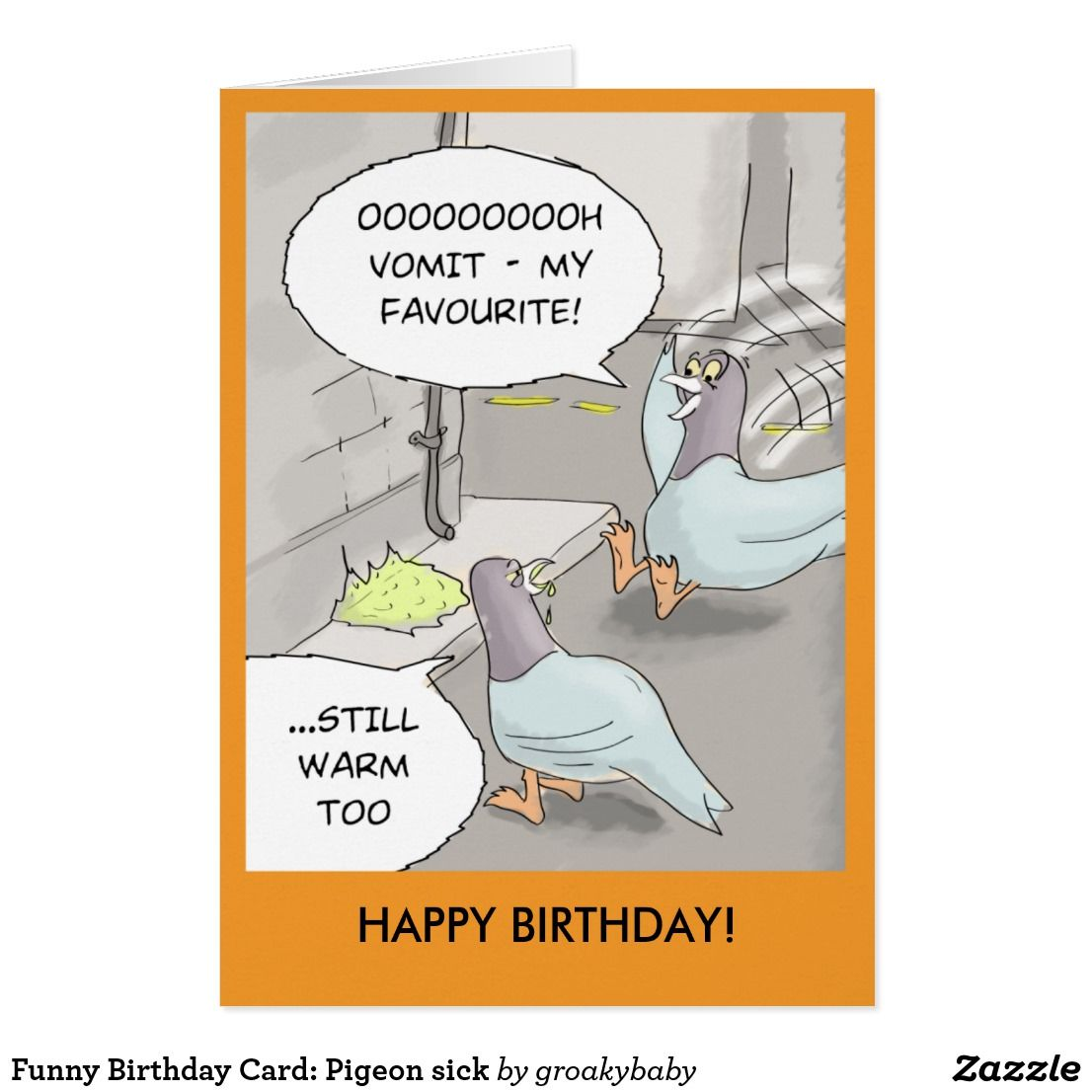 Funny Birthday Card Pigeon Sick Card Funny Greeting Cards