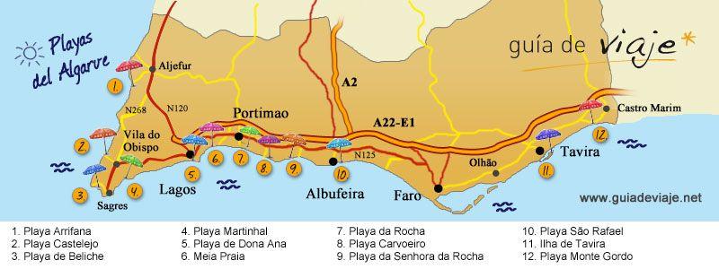 Playas Del Algarve Viajes Pinterest Algarve And Portugal - Portugal map carvoeiro