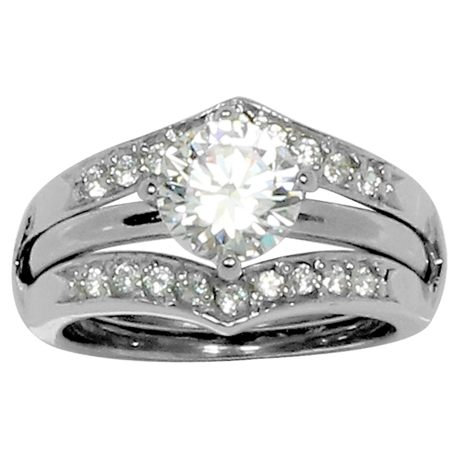 Round Prong Set CZ Engagement Style Ring in Ring Guard