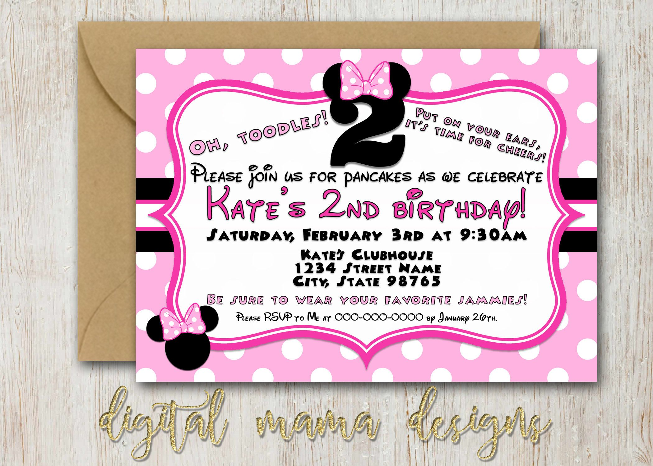 Minnie Mouse Birthday Party Invitation - 2 year old Minnie Birthday ...
