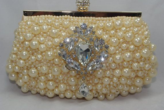 Rose Gold Pearl Bridal Clutch Crystal and Pearl by TheOmbreMouse