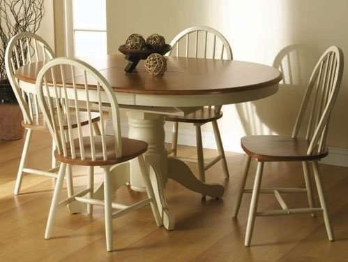 cotswold painted pine round extending dining table and chairs