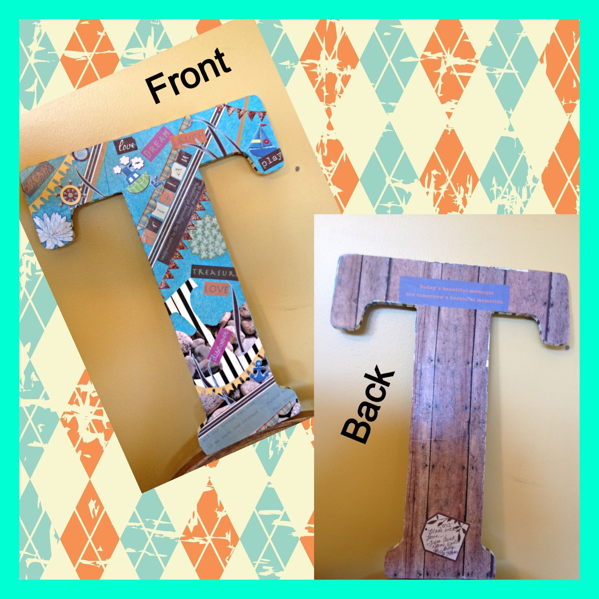 Used a wooden letter, craft glue, tissue paper, scrapbook paper, mod pudge, foam brush, embellishment stickers. Completed front then covered the back with paper. Mid podge all, cure and hand with command strips!