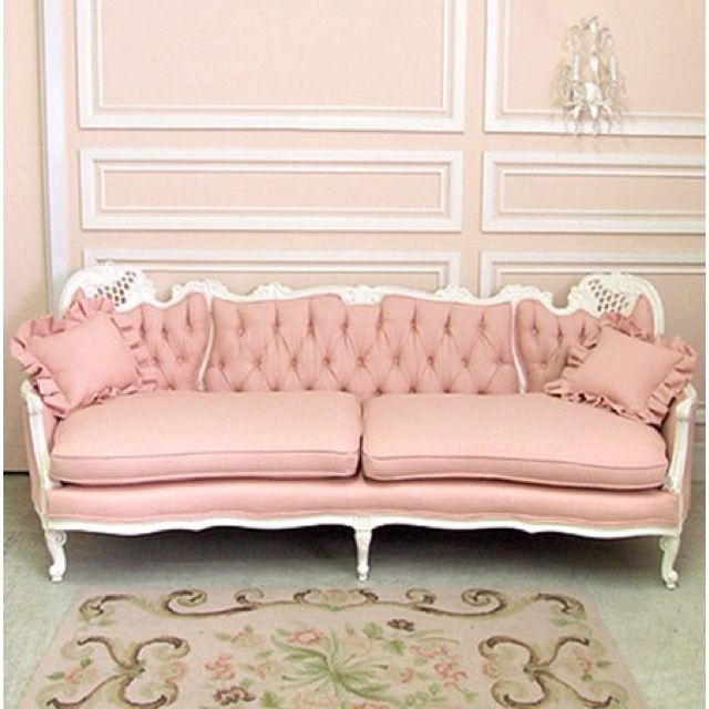colonial wainscoting | Pink Colonial French Sofa, pink can be a ...