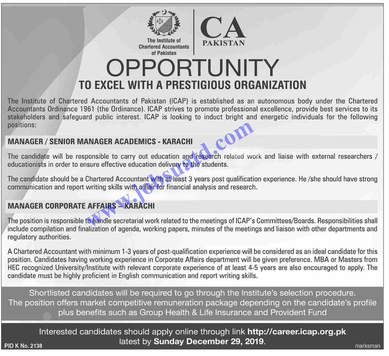 The Institute Of Chartered Accountants Of Pakistan Icap Jobs
