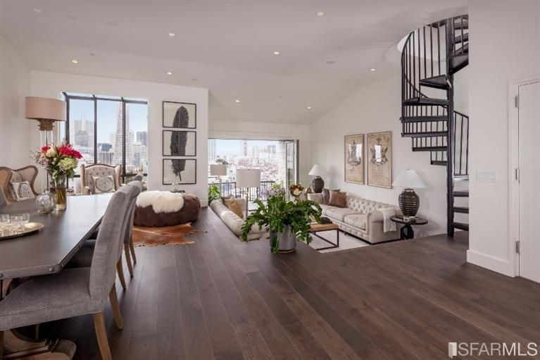 Contemporary Great Room With High Ceiling Spiral Staircase Carpet Sunken Living Hardwood Floors