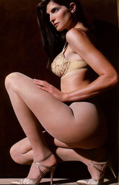 Stephanie Seymour models pantyhose for Victoria's Secret, 1990s.