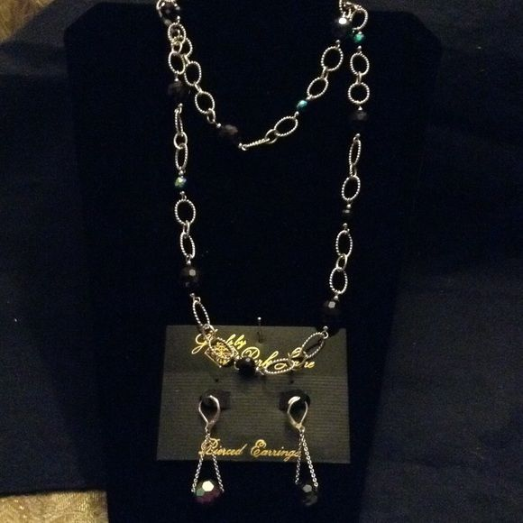 """Parklane """"Jazzy"""" earrings and necklace. 38"""" necklace, earrings 2"""" long  Genuine glass beads. Park Lane Jewelry Earrings"""
