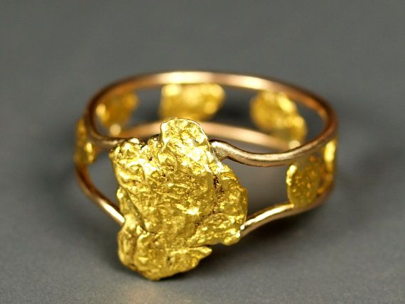 Natural Gold Nugget Ring Size 6 Made from Real California Gold