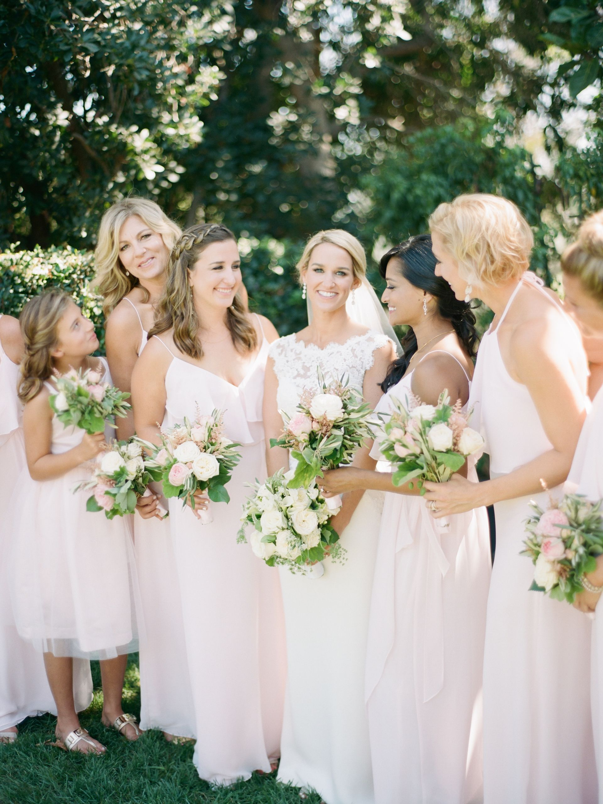The smarter way to wed light pink bridesmaids bridal parties fluttery light pink bridesmaid dresses springtime bridal party long gowns cream and pink ombrellifo Image collections