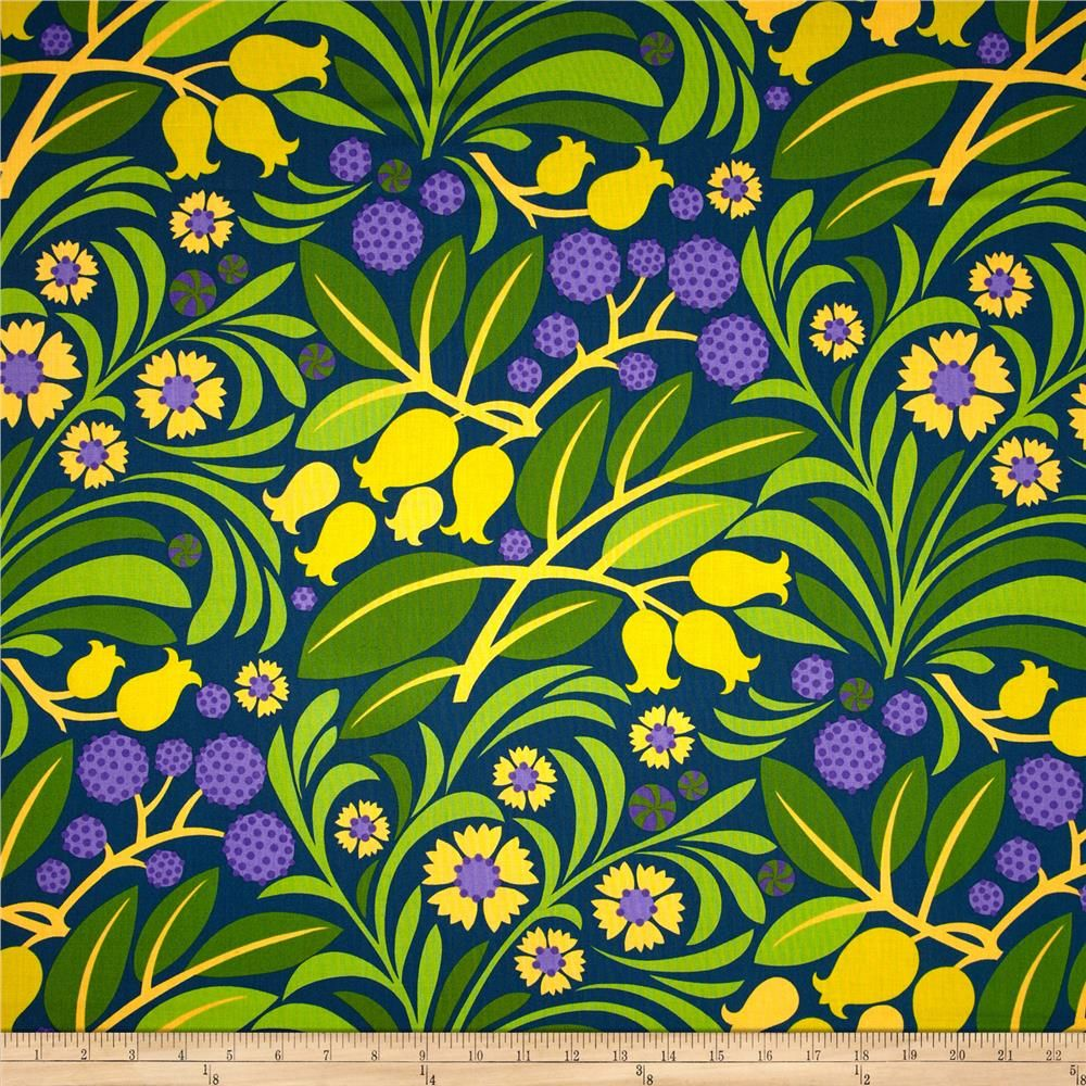 Designed by Jane Sassaman for Free Spirit, this cotton print is perfect for quilting, apparel and home decor accents.  Colors include yellow, blue. shades of purple and shades of green.