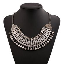 2015 vintage boho silver multilayer coin tassel ethnic necklace for women tribal festival necklaces design(China (Mainland))