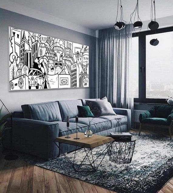 Black and White Graffiti Style Wall Art Extra Large Graffiti | Etsy