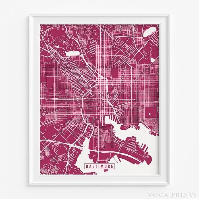 Maryland Map By City%0A BALTIMORE  MARYLAND Street Map Wall Art Poster  Starting at       with     color choices
