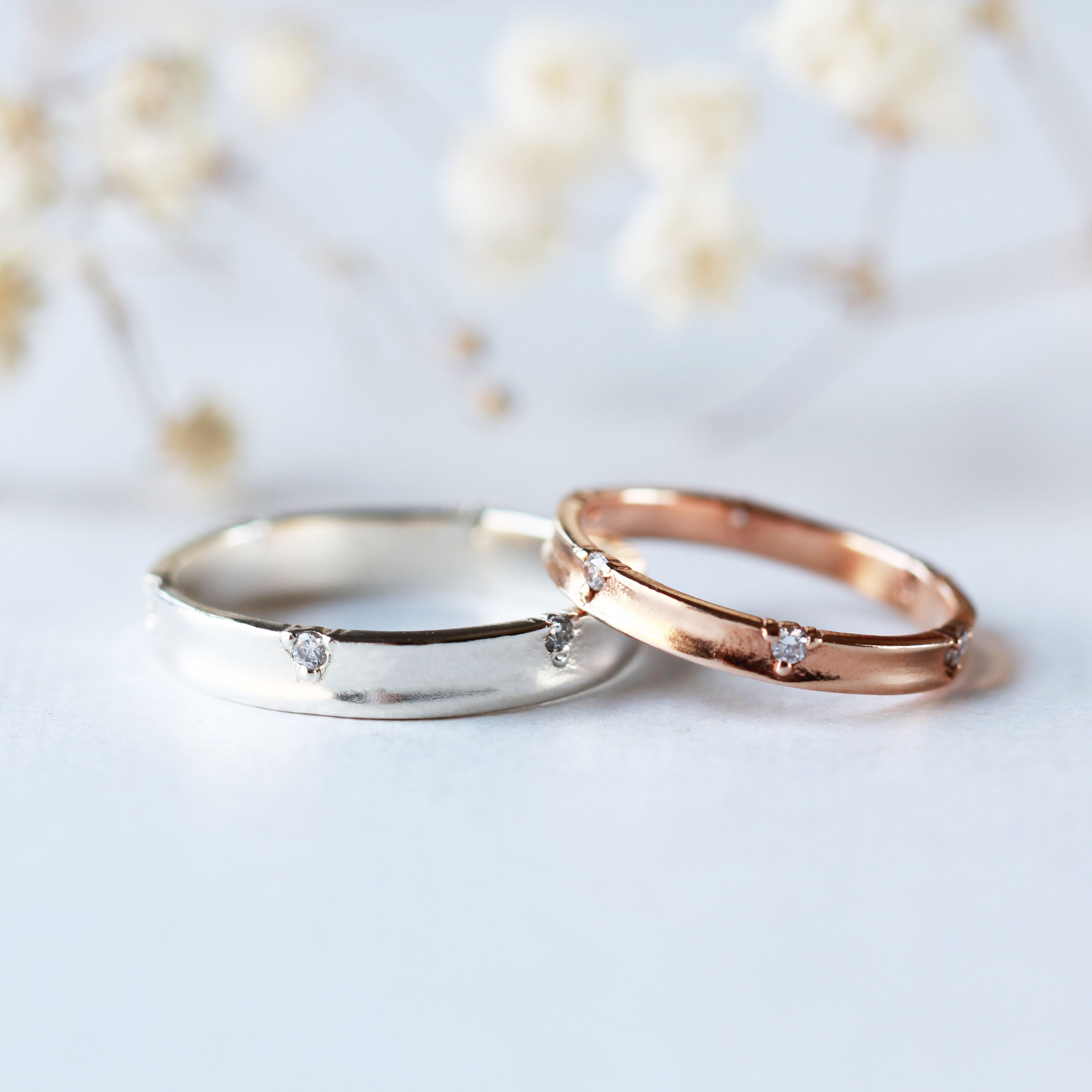 This is a photo of His and Hers Couples Rings His and Hers wedding Rings Rose Etsy