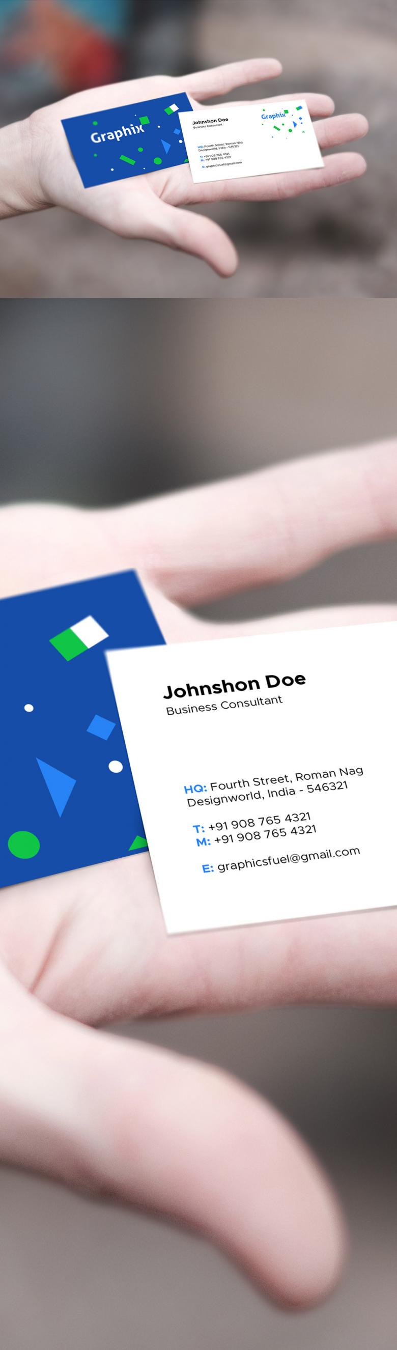 Free Business Card in Hand Mockup