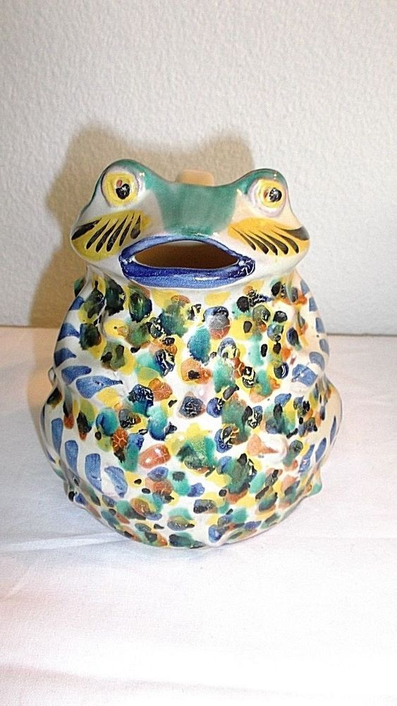 """Collectible Gorky Gonzales Art Pottery Frog Pitcher, Guanajuato Mexico,  5""""H"""