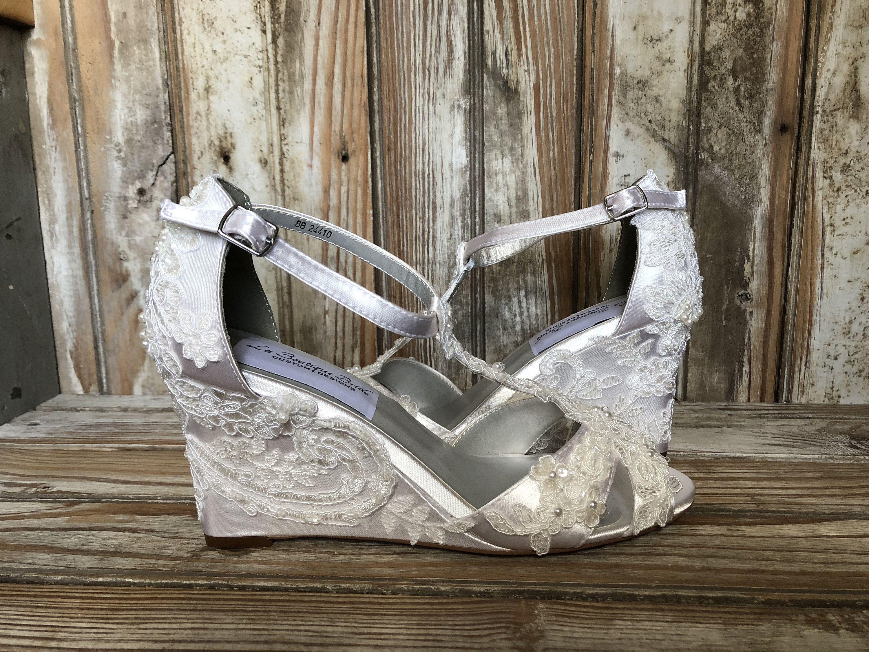 Ivory bridal wedge wedding wedge shoe ankle strap medium