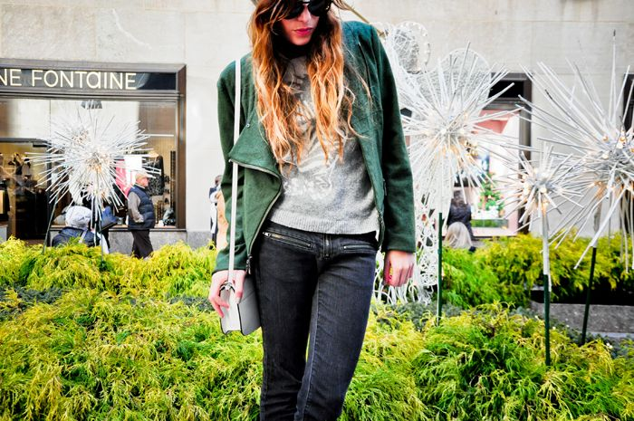 Lauren of the Marcy Stop in a Jenny Han moto jacket from @crossroadstrading
