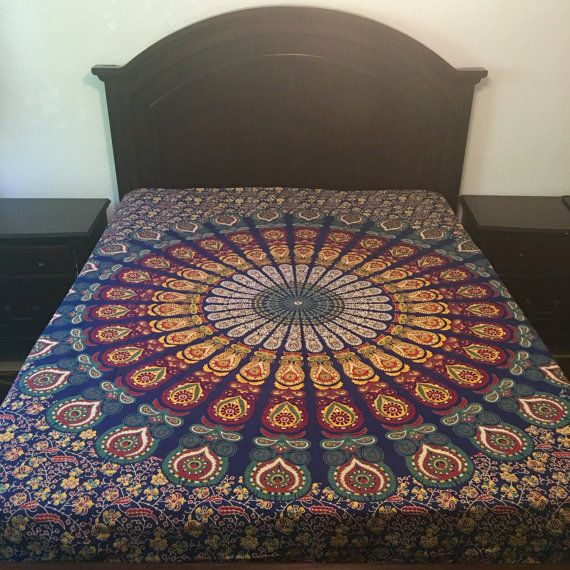 Queen / King Size Mandala Bedspread/ Tapestry 90inch X 85inch Bedspread (not duvet)  Organic Cotton fabric, Vegetable dyes. No synthetic colors - natural and eco friendly.  PLEASE NOTE: As part of the hand screen-printing process some slight imperfections may occur such as slight dye run, dye spots and slight color variations. This is unavoidable due to the delicate nature of the screen-printing process and the intricate designs.  Thank You  Ships fromFlorida Priority with Tracking