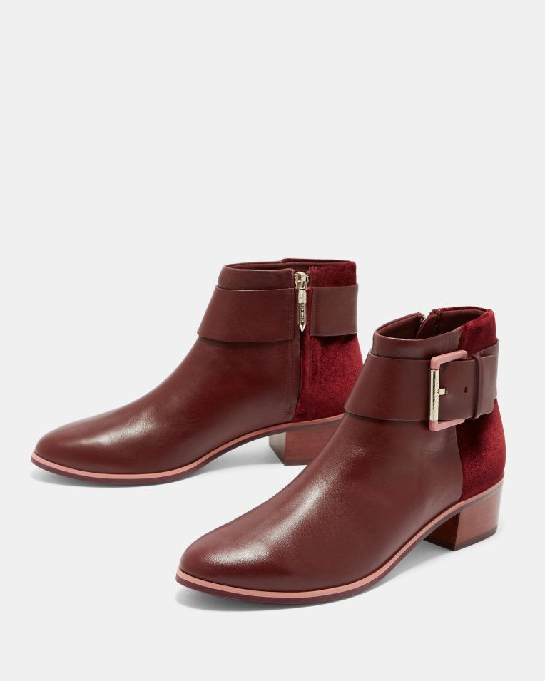 Leather ankle boots - Dark Red   Shoes